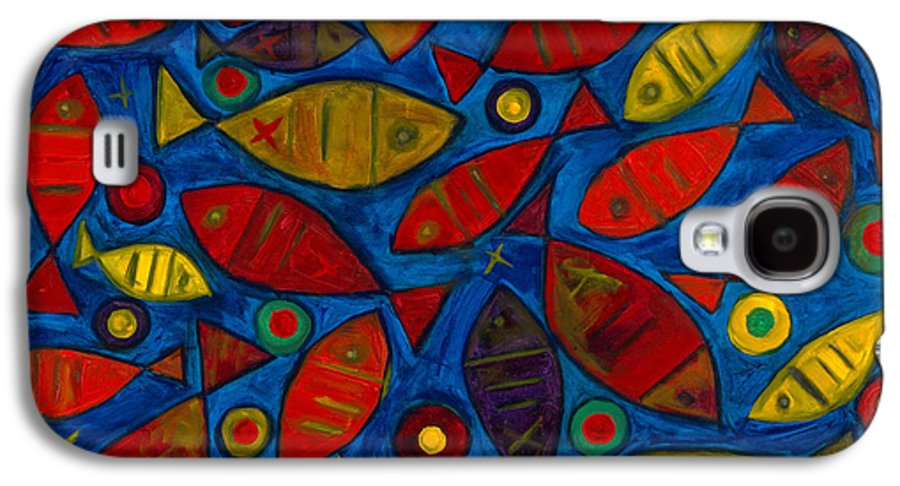 Fishes Galaxy S4 Case featuring the painting Swimming With The Fishes by Emeka Okoro