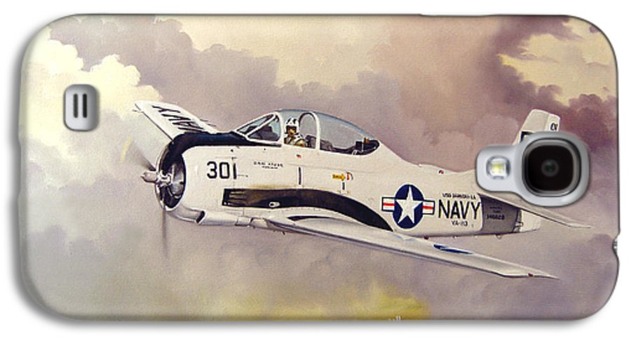 Military Galaxy S4 Case featuring the painting T-28 Over Iowa by Marc Stewart