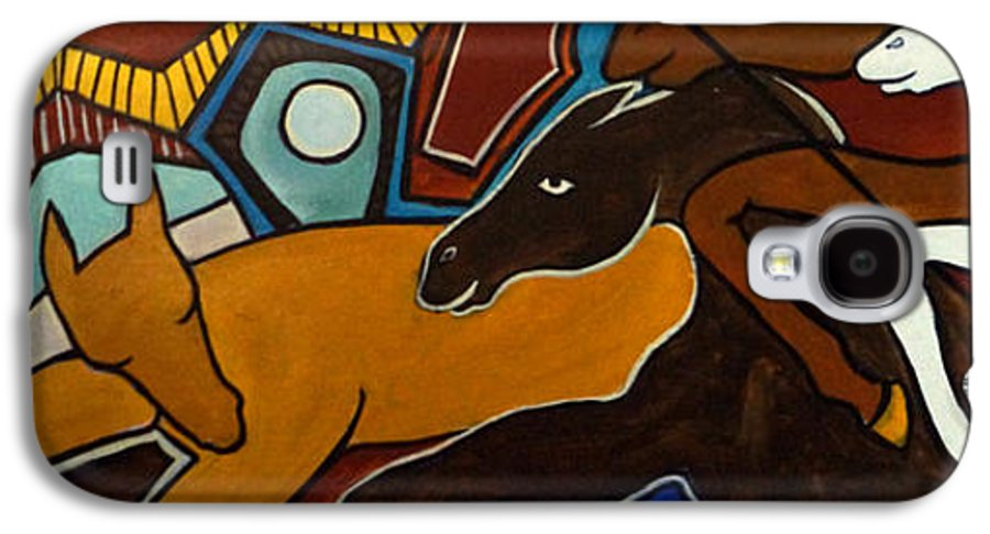 Horse Abstract Galaxy S4 Case featuring the painting Taffy Horses by Valerie Vescovi