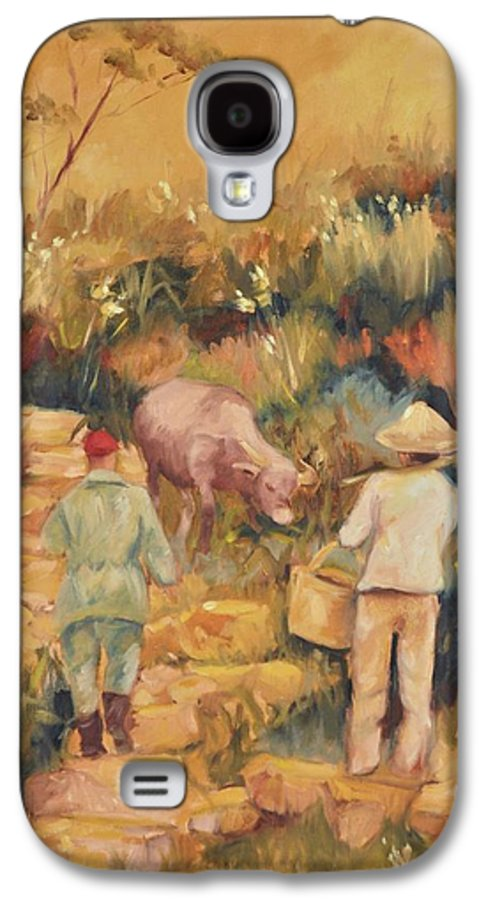 Water Buffalo Galaxy S4 Case featuring the painting Taipei Buffalo Herder by Ginger Concepcion