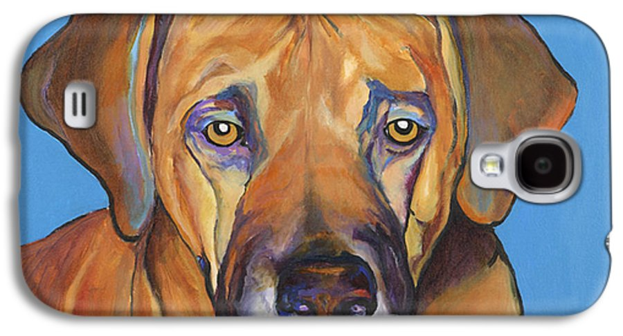 Rhodesian Ridgeback Dog Ridgeback African Colorful Orange Gold Yellow Red Galaxy S4 Case featuring the painting Talen by Pat Saunders-White