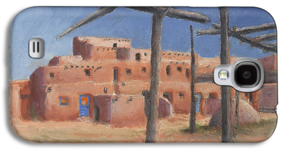 Taos Galaxy S4 Case featuring the painting Taos Pueblo by Jerry McElroy