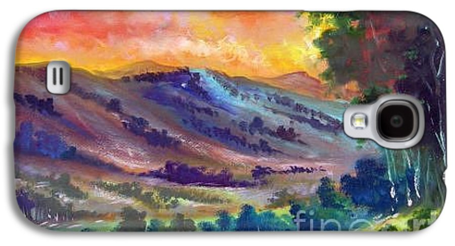 Landscape Galaxy S4 Case featuring the painting Tarde De Sol by Leomariano artist BRASIL