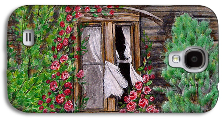 Curtains Galaxy S4 Case featuring the painting Tattered Curtains by Quwatha Valentine