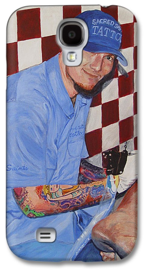 Tattoo Galaxy S4 Case featuring the painting Tattoo Artist - Brandon Notch by Quwatha Valentine