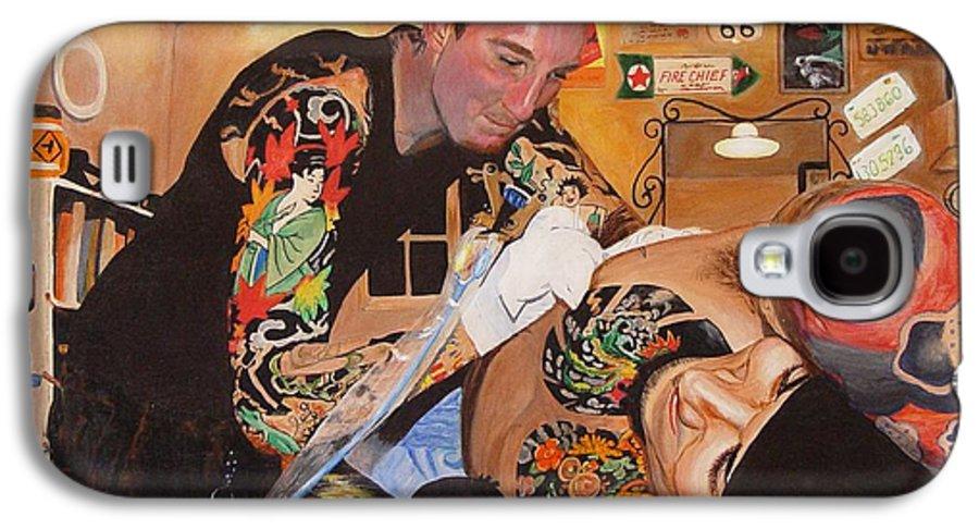Portrait Galaxy S4 Case featuring the painting Tattoo Artist by Quwatha Valentine