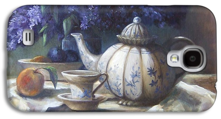Teapot Galaxy S4 Case featuring the painting Tea And Lilacs by Ruth Stromswold