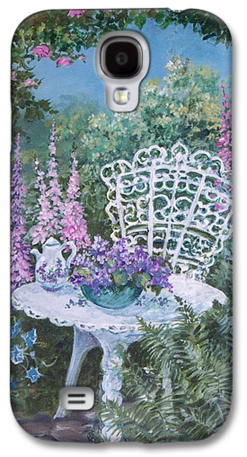 Garden;flowers;teapot;ornamental;roses; Galaxy S4 Case featuring the painting Tea Time In The Garden by Lois Mountz