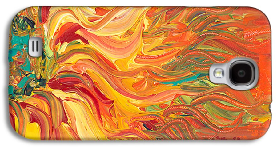 Sunjflower Galaxy S4 Case featuring the painting Textured Fire Sunflower by Nadine Rippelmeyer