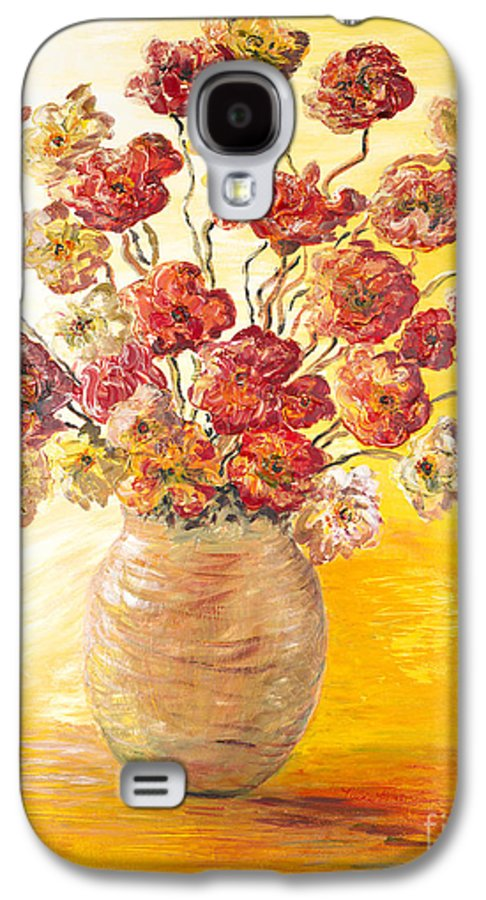 Flowers Galaxy S4 Case featuring the painting Textured Flowers In A Vase by Nadine Rippelmeyer