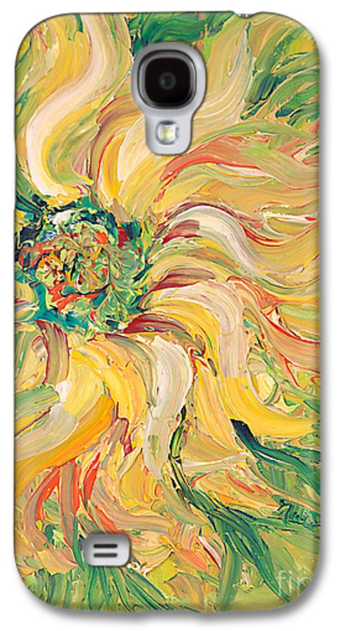 Texture Galaxy S4 Case featuring the painting Textured Green Sunflower by Nadine Rippelmeyer