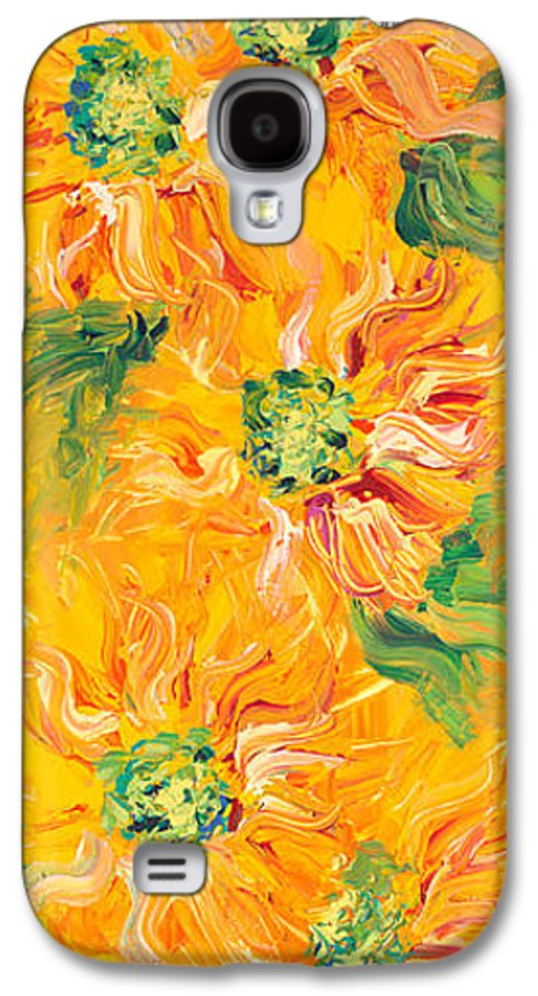 Yellow Galaxy S4 Case featuring the painting Textured Yellow Sunflowers by Nadine Rippelmeyer