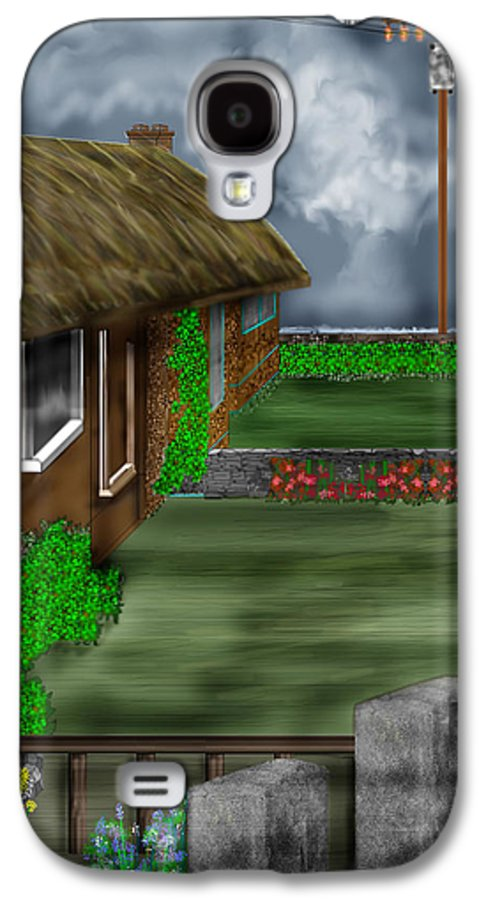 Cottages Galaxy S4 Case featuring the painting Thatched Roof Cottages In Ireland by Anne Norskog