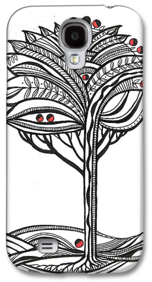 Abstract Galaxy S4 Case featuring the drawing The Apple Tree by Aniko Hencz
