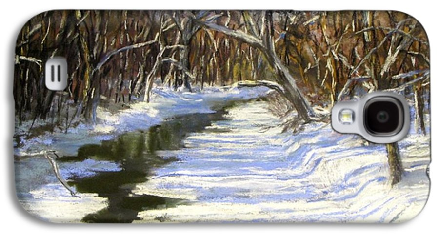 Assabet River Galaxy S4 Case featuring the painting The Assabet River In Winter by Jack Skinner