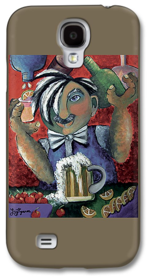 Bartender Galaxy S4 Case featuring the painting The Bartender by Elizabeth Lisy Figueroa