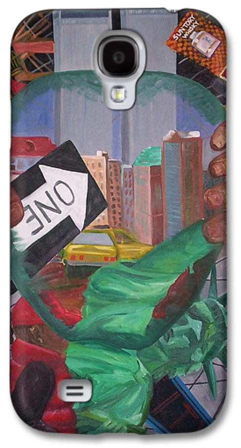 New York Galaxy S4 Case featuring the painting The Big Apple by Lauren Luna