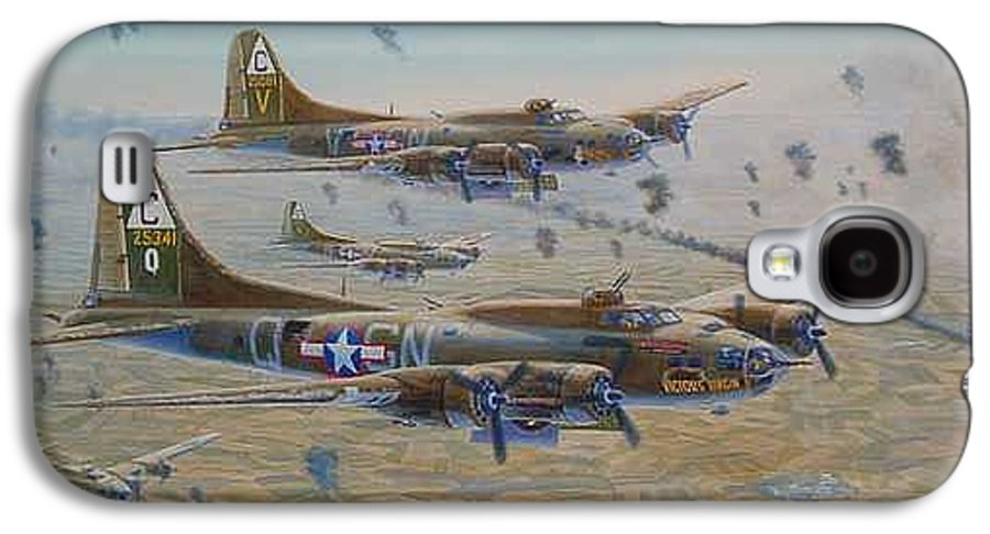 303rd Bomb Groups Vicious Virgin Galaxy S4 Case featuring the painting The Bomb Run Over Schwienfurt by Scott Robertson