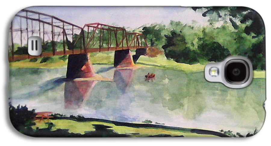 Bridge Galaxy S4 Case featuring the painting The Bridge At Ft. Benton by Andrew Gillette