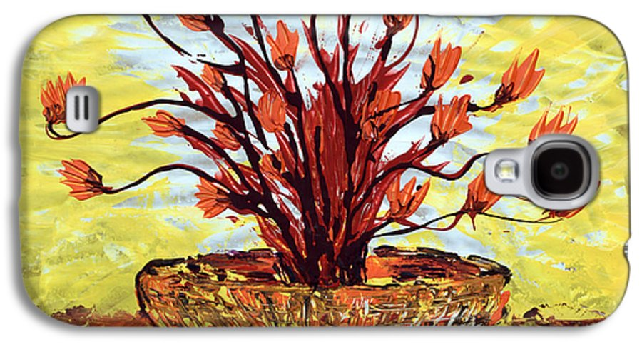 Red Bush Galaxy S4 Case featuring the painting The Burning Bush by J R Seymour