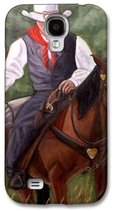 Portrait Galaxy S4 Case featuring the painting The Cowboy by Toni Berry
