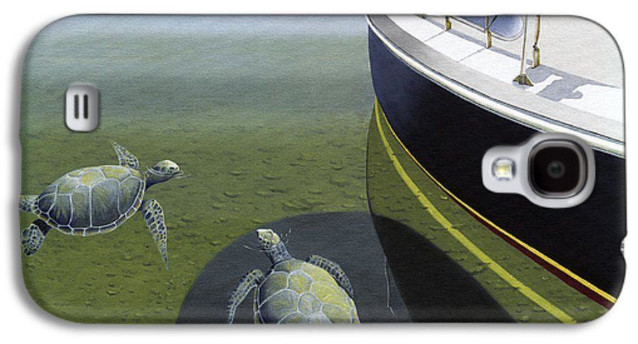 Sail Boat Galaxy S4 Case featuring the painting The Curiosity Of Sea Turtles by Gary Giacomelli