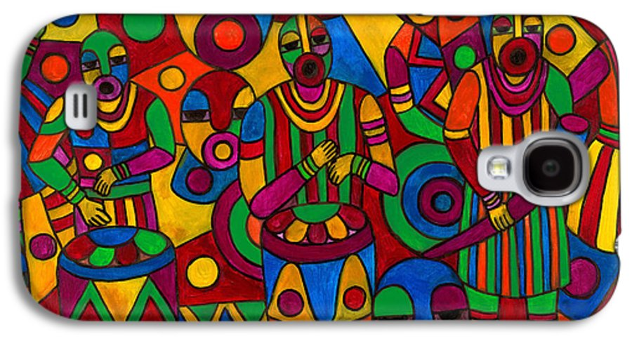 Abstract Galaxy S4 Case featuring the painting The Festival by Emeka Okoro