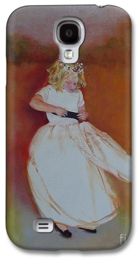 Contemporary Portrait Galaxy S4 Case featuring the painting The Flower Girl Copyrighted by Kathleen Hoekstra