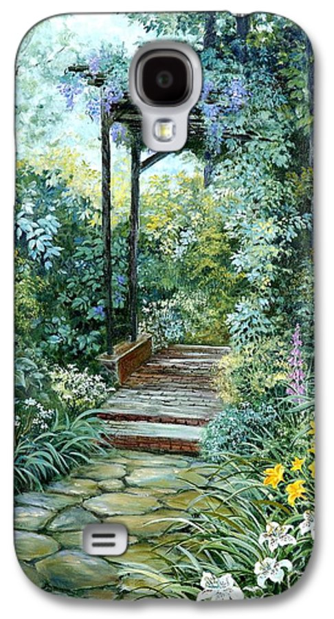 Oil Painting;wisteria;garden Path;lilies;garden;flowers;trellis;trees;stones;pergola;vines; Galaxy S4 Case featuring the painting The Garden Triptych Right Side by Lois Mountz