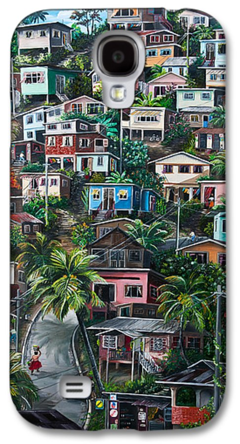 Landscape Painting Cityscape Painting Houses Painting Hill Painting Lavantille Port Of Spain Painting Trinidad And Tobago Painting Caribbean Painting Tropical Painting Caribbean Painting Original Painting Greeting Card Painting Galaxy S4 Case featuring the painting The Hill   Trinidad by Karin Dawn Kelshall- Best