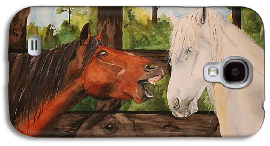 Horse Galaxy S4 Case featuring the painting The Horse Whisperers by Jean Blackmer