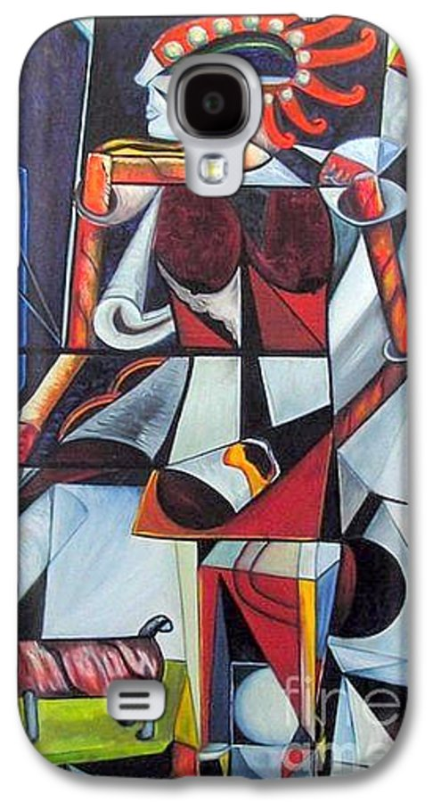 Cubism Galaxy S4 Case featuring the painting The Lady And Her Dog by Pilar Martinez-Byrne