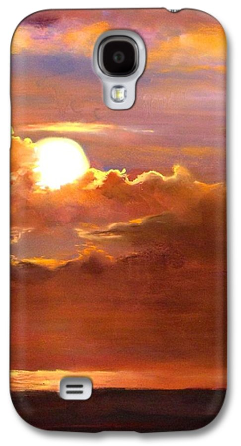 Sunset Galaxy S4 Case featuring the painting The Last Cast by Jack Skinner