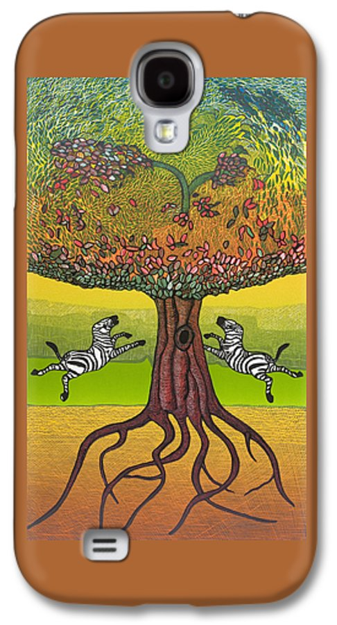 Landscape Galaxy S4 Case featuring the mixed media The Life-giving Tree. by Jarle Rosseland
