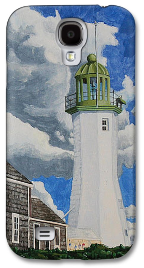 Lighthouse Galaxy S4 Case featuring the painting The Light Keeper's House by Dominic White
