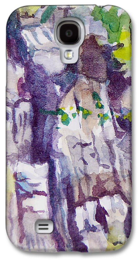 Purple Galaxy S4 Case featuring the painting The Little Climbing Wall by Jan Bennicoff