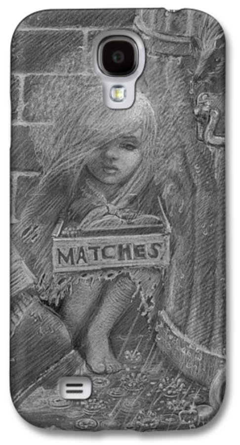 Hans Christian Andersen Galaxy S4 Case featuring the drawing The Little Matchseller by David Dozier