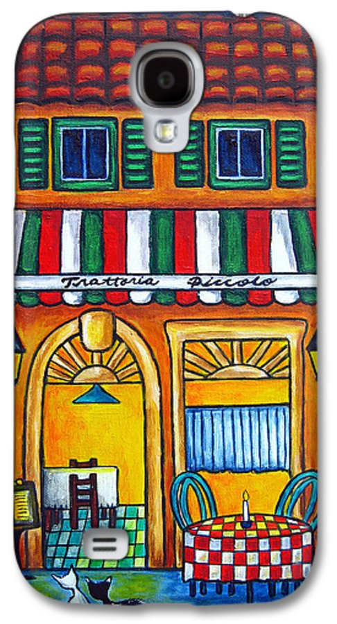 Blue Galaxy S4 Case featuring the painting The Little Trattoria by Lisa Lorenz