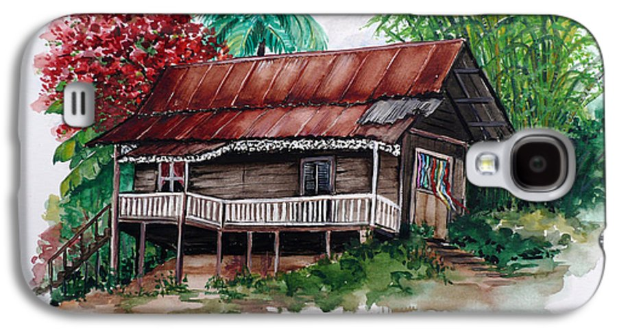 Tropical Painting Poincianna Painting Caribbean Painting Old House Painting Cocoa House Painting Trinidad And Tobago Painting  Tropical Painting Flamboyant Painting Poinciana Red Greeting Card Painting Galaxy S4 Case featuring the painting The Old Cocoa House by Karin Dawn Kelshall- Best
