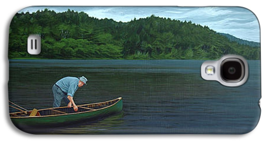 Landscape Galaxy S4 Case featuring the painting The Old Green Canoe by Jan Lyons