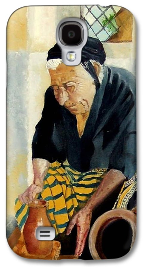 Old People Galaxy S4 Case featuring the painting The Old Potter by Jane Simpson
