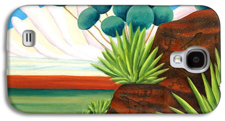 Landscape Galaxy S4 Case featuring the painting The Petroglyphs by Lynn Soehner