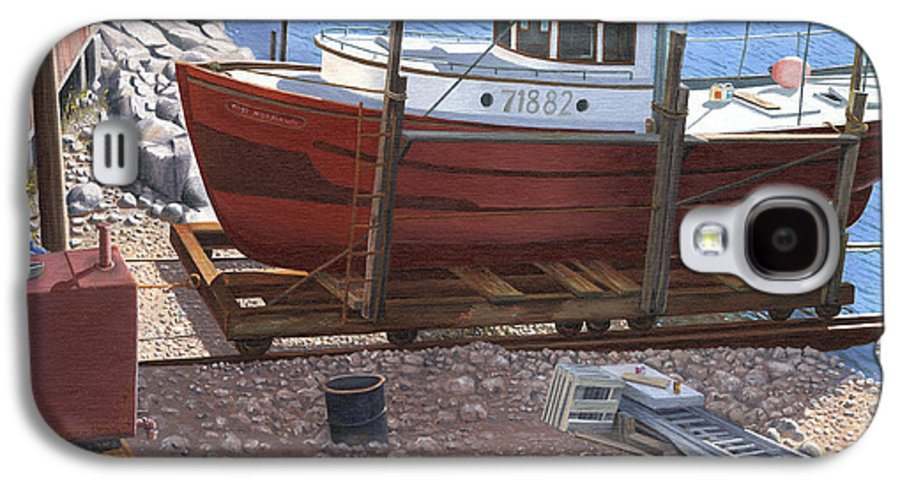 Fishing Boat Galaxy S4 Case featuring the painting The Red Troller by Gary Giacomelli