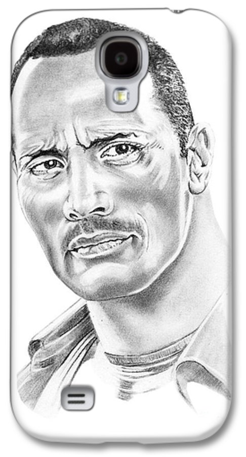 Pencil Galaxy S4 Case featuring the drawing The Roc  Dwain Johnson by Murphy Elliott