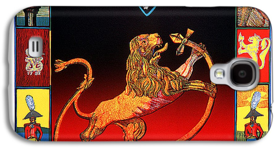 Historic Galaxy S4 Case featuring the mixed media The Royal Norwegian Lion by Jarle Rosseland
