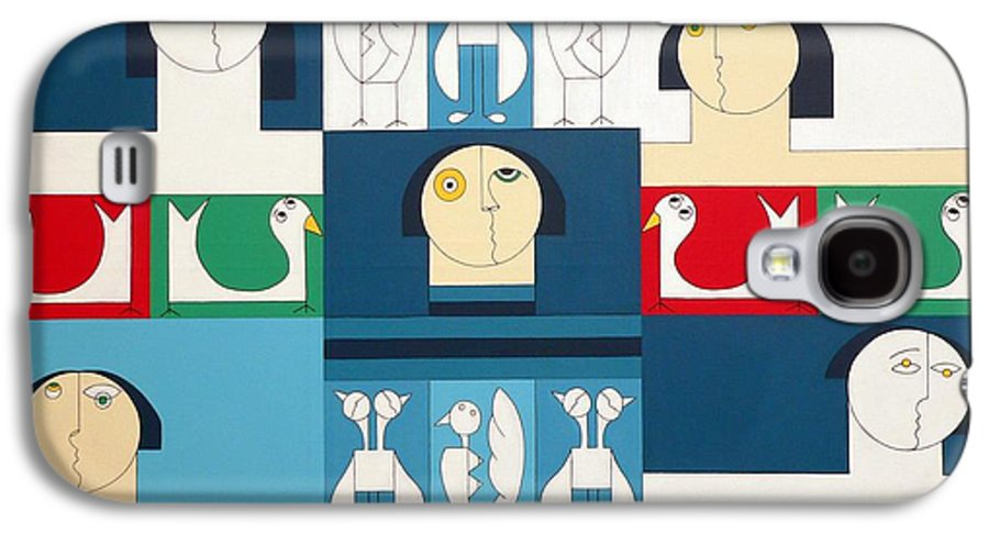People Birds Music Modern Special Galaxy S4 Case featuring the painting The Sound Of Birds by Hildegarde Handsaeme