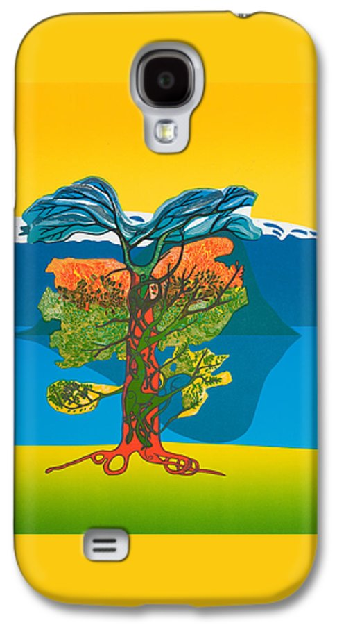 Landscape Galaxy S4 Case featuring the mixed media The Tree Of Life. From The Viking Saga. by Jarle Rosseland
