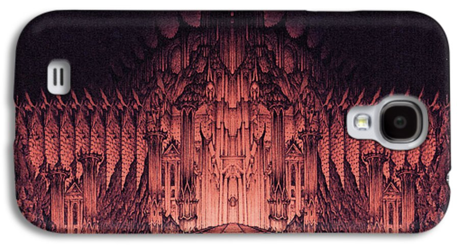 Barad Dur Galaxy S4 Case featuring the drawing The Walls Of Barad Dur by Curtiss Shaffer