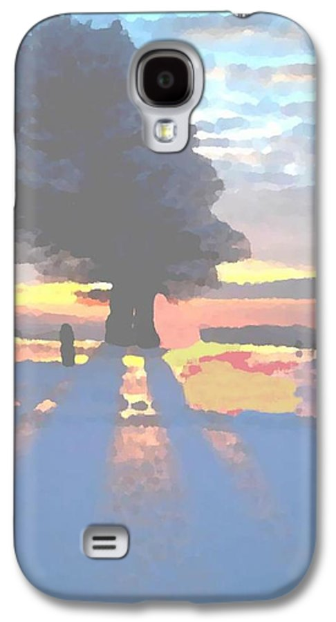 Sky.clouds.winter.sunset.snow.shadow.sunrays.evening Light.tree.far Forest. Galaxy S4 Case featuring the digital art The Winter Lonely Tree by Dr Loifer Vladimir