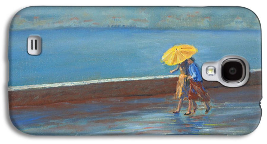 Rain Galaxy S4 Case featuring the painting The Yellow Umbrella by Jerry McElroy